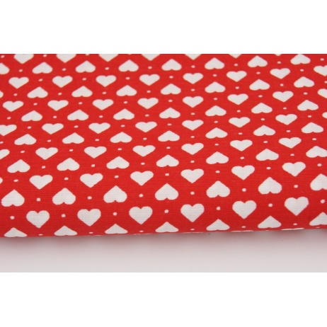 Cotton 100% white hearts on a red background
