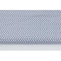 Cotton 100% white polka dots, peas on a graphite background