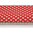 Bawełna 100% serduszka białe na czerwonym tle