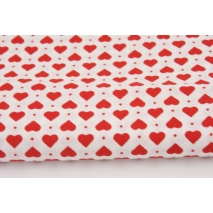 Cotton 100% red hearts on a white background