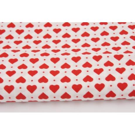 Bawełna 100% serduszka czerwone na białym tle