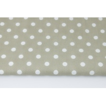 Cotton 100% polka dots 10mm on a cold beige background