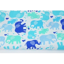 Cotton 100% turquoise, blue, navy elephants