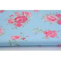 HOME DECOR pink flowers on blue background