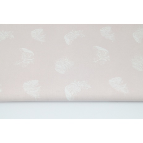 Bawełna 100% białe piórka na pudrowym, brudnym różu