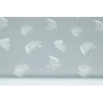 Bawełna 100% białe piórka na szarym tle