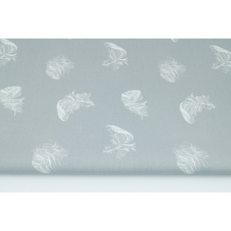 Cotton 100% white feathers on a gray background