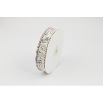 Cotton ribbon with a motive of travel on a natural background 20mm