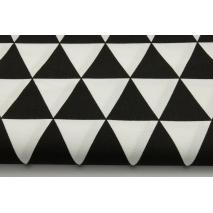 Bawełna 100% w czarne trójkąty na białym tle - II jakość