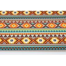 Bawełna 100% wzór etniczny turkusowo-brązowy