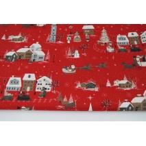Bawełna 100% zimowe miasto na czerwonym tle