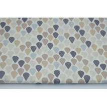 Cotton 100% droplets in row beige-gray