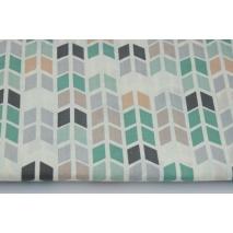Cotton 100% medium geometric zigzag green and gray