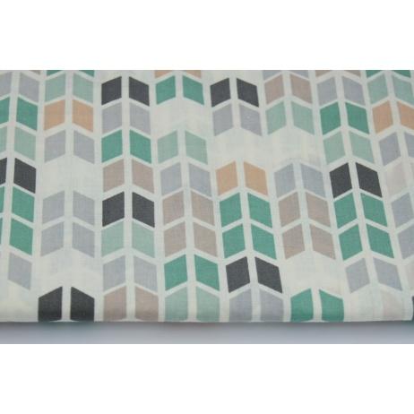 Bawełna 100% średni zygzak geometryczny zielono-szary