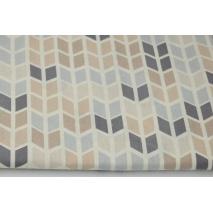 Cotton 100% medium geometric zigzag beige and gray