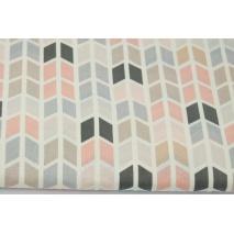 Cotton 100% medium geometric zigzag salmon and gray