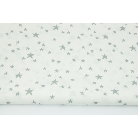 Cotton 100% irregular gray stars on a white background