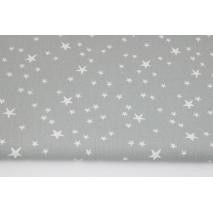 Bawełna 100% nieregularne gwiazdki białe na szarym tle