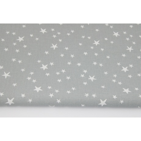 Cotton 100% irregular white stars on a gray background