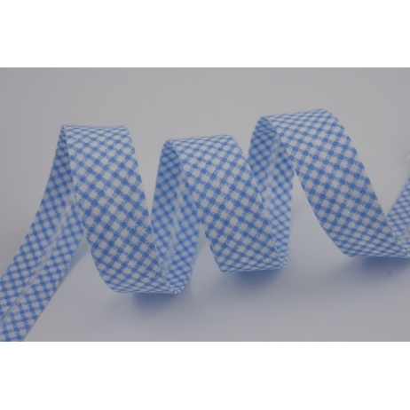 Cotton bias binding blue small check