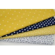Knitwear 100% cotton white stars on a mustard background