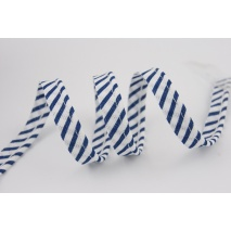 Cotton edging ribbon white-navy blue stripes