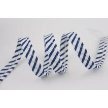 Cotton edging ribbon white-navy blue stripes