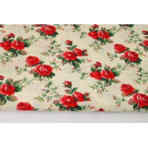 Bawełna 100%, czerwone róże na kremowym