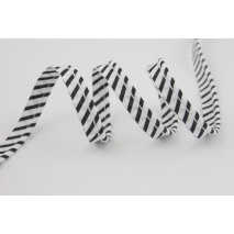 Cotton edging ribbon black-white stripes
