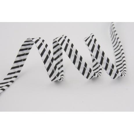 Cotton edging ribbon black-white stripes