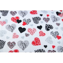 Cotton 100% black-red-gray hearts XL
