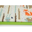 Cotton 100% forest animals on a light yellow background