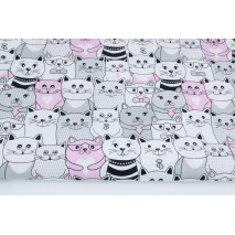 Cotton 100% grey and pink cats