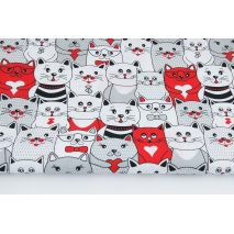 Bawełna 100% szare czerwone kotki