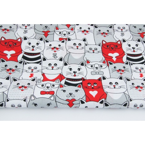 Cotton 100% grey and red cats
