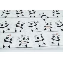 Bawełna 100%, pandy na linach na białym tle