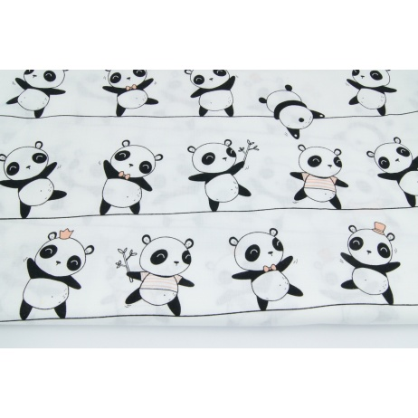 Cotton 100% pandas on ropes on a white background