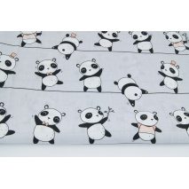 Cotton 100% pandas on ropes on a grey background