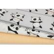 Bawełna 100%, pandy na linach na szarym tle