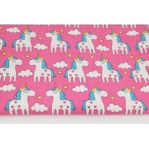 Cotton 100%, unicorns on a pink background (2)