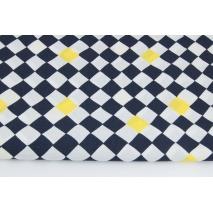 Bawełna 100% małe romby czarno-żółte