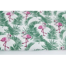 Cotton 100% flamingos among palm leaves