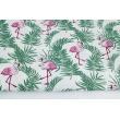 Bawełna 100% flamingi wśród palmowych liści
