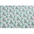 Cotton 100% flamingos among palm leaves