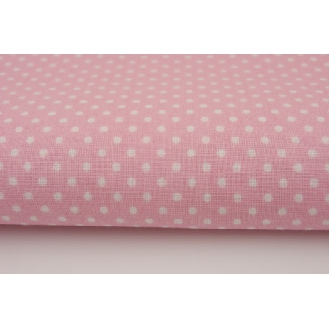Cotton 100% white 2mm polka dots on a pink background