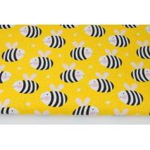Bawełna 100% pszczółki w paski na żółtym tle