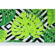 Bawełna 100% tropikalne liście na czarno-białym tle