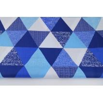 Bawełna 100% trójkąty 9cm granatowo-niebieskie