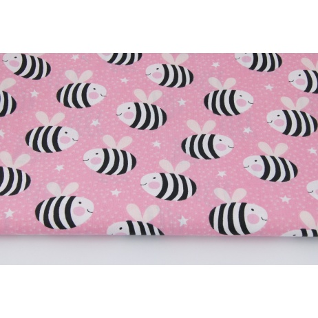 Cotton 100% striped bees on a pink background
