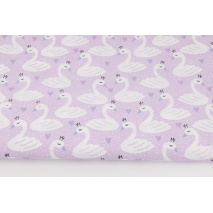 Cotton 100% swans on a light violet background